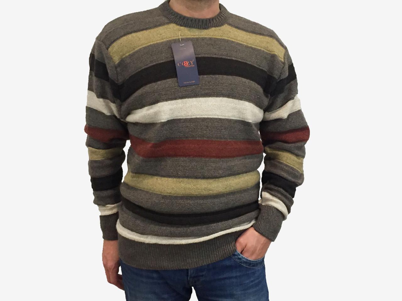 Мужской теплый свитер № 1005 полоска коричневый