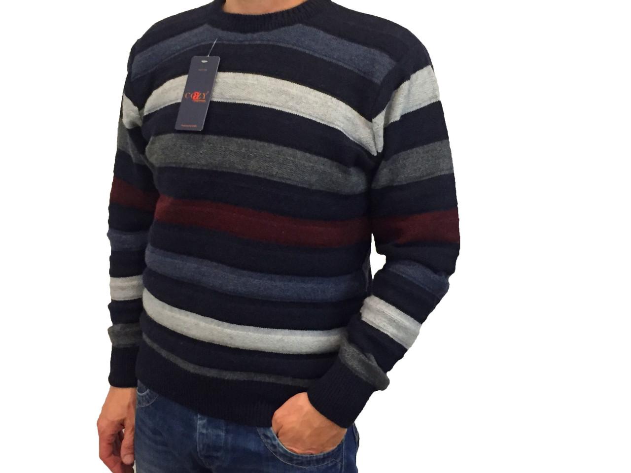 Мужской теплый свитер № 1005 полоска синий