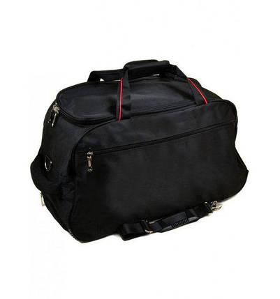 Дорожня сумка на коліщатках середнього розміру з висувною ручкою, чорна 66 літрів, фото 2