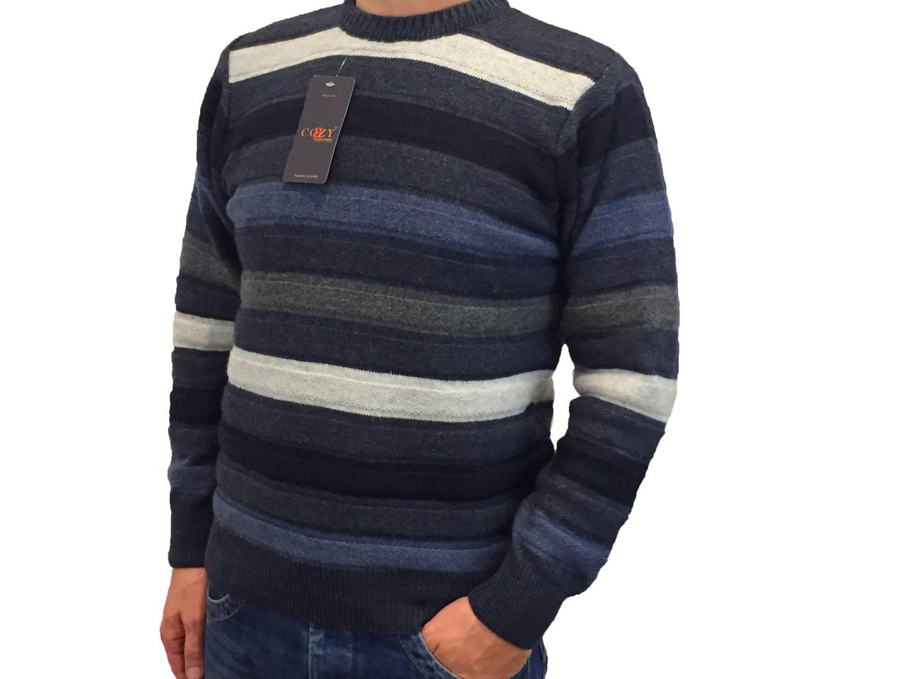 Мужской теплый свитер № 1005 полоска голубой