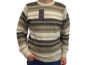 Мужской теплый свитер № 1680 полоска бежевый