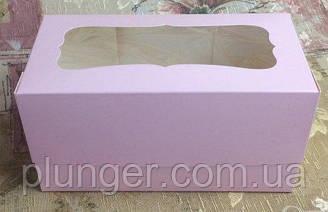 Коробка для капкейків з вікном, на 2 шт. мілований картон