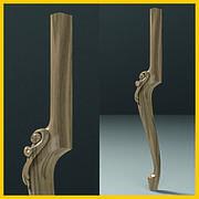 Ножка кабриоль с резным декором для стола или консоли деревянная резная. 840 мм