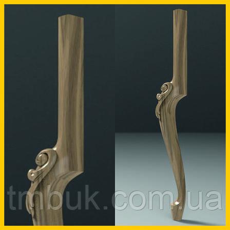 Ножка кабриоль с резным декором для стола или консоли деревянная резная. 840 мм, фото 2