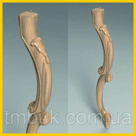 Сложная консольная ножка кабриоль дважды выгнутая. С резным деревянным декором. 600 мм., фото 2
