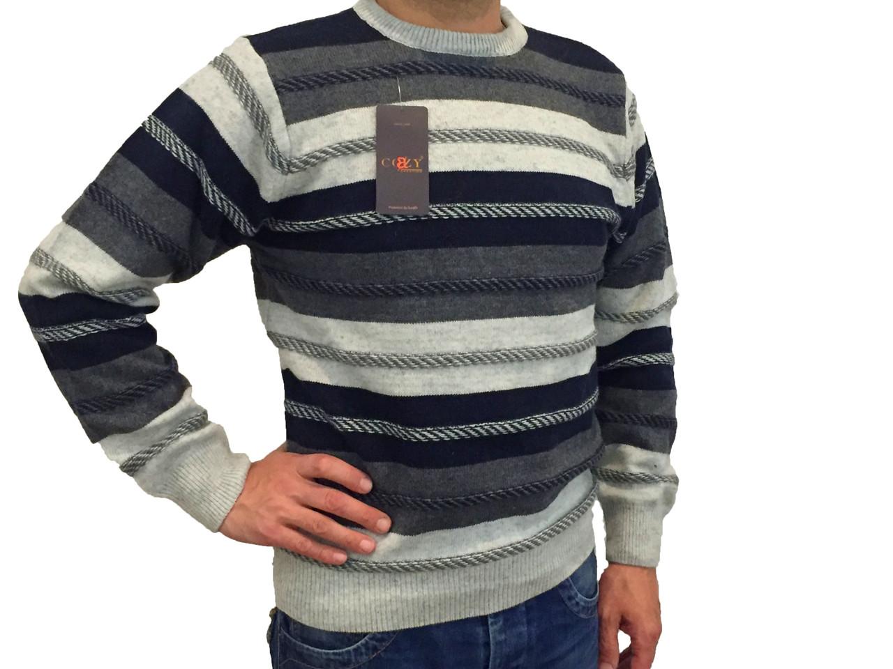 Чоловічий теплий светр № 1680 смужка сірий