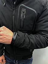 Куртка зимняя мужская с капюшоном черная, фото 3