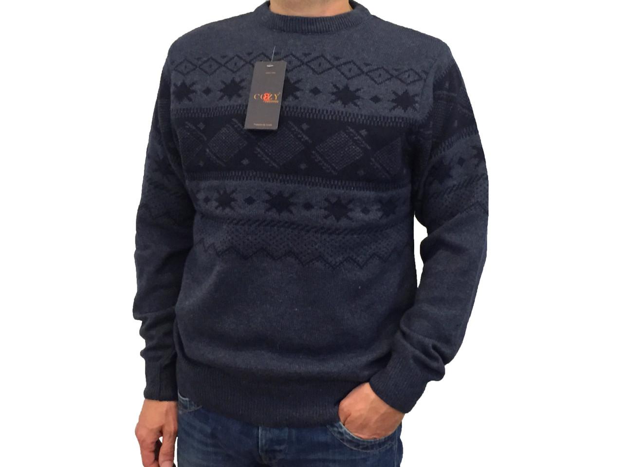 Мужской теплый свитер № 1725 синий с узором