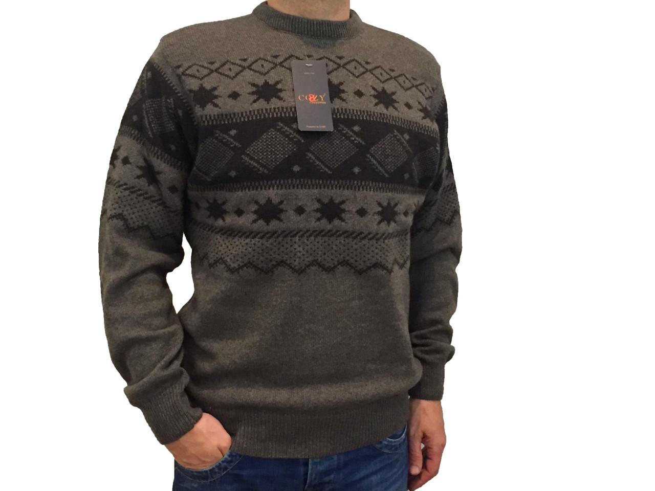 Мужской теплый свитер № 1725 коричневый с узором