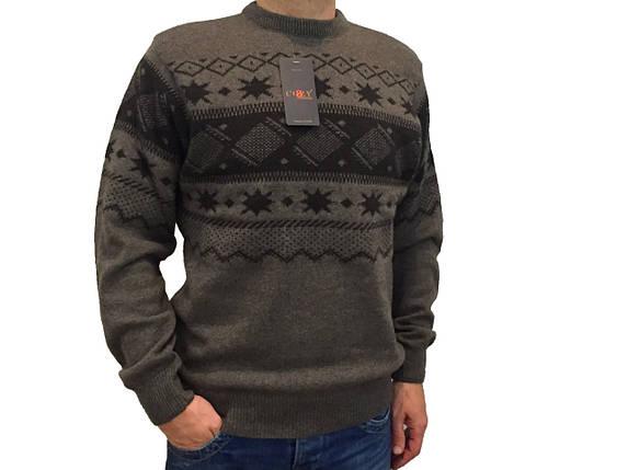 Мужской теплый свитер № 1725 коричневый с узором, фото 2