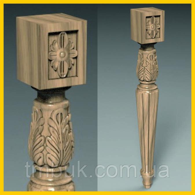 Ножка резная для стола из дерева. Круглая с квадратным основанием, розетками и канелюрами. 500 мм.