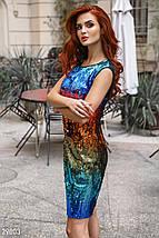 Нарядное платье мини из цветных пайеток приталенное без рукав красно синее, фото 2