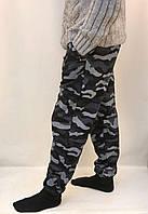 Штаны камуфляжные трикотажные под манжет - зимний вариант Черный, 2XL