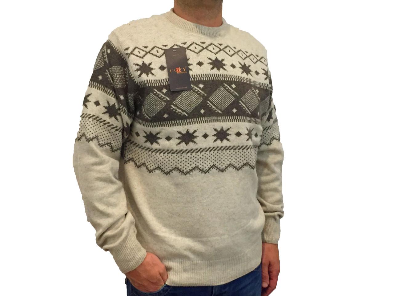 Мужской теплый свитер № 1725 бежевый с узором