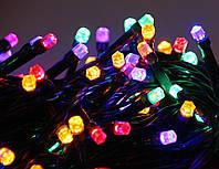 """Гирлянда светодиодная нить """"Кристал"""", 100 led, 8м черный провод - цвет разноцветный"""
