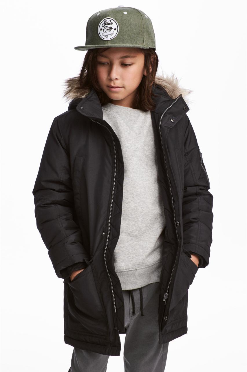 Черная зимняя парка для мальчика H&M Швеция Размер 158