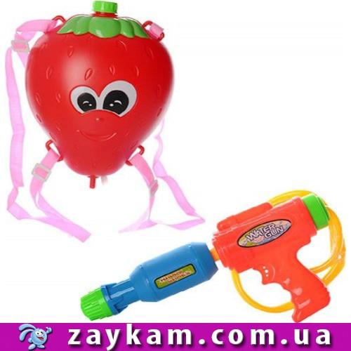 Водяний автомат M 2855 з балоном на плечі, 26см, полуничка, в кульку, 29-34-7см