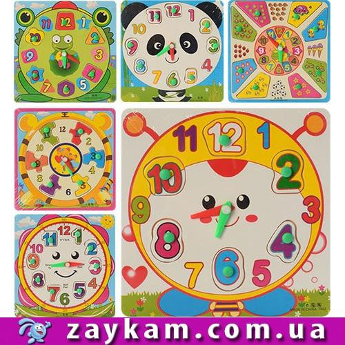 Дерев'яна іграшка Годинник MD 0959 рамка-вкладиш з ручкою, 6 видів, в пакеті, 18-18-1см