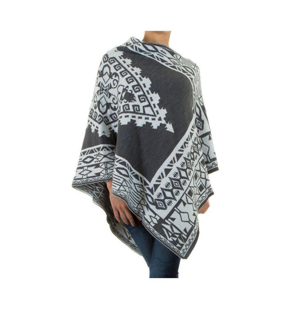 Женское пончо с этническим принтом H&L Fashion (Италия), Серый