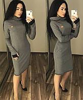 """Теплое платье в спортивном стиле с двойным капюшоном / трикотаж джерси с начесом """"Дани"""" / Украина, фото 1"""