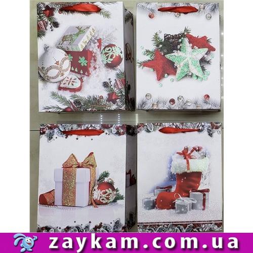 """Пакет подарунковий паперовий """"В очікуванні Нового року"""" 12шт/уп 50*40*14см R87449"""