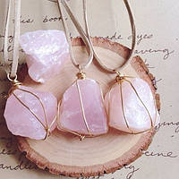 Кулоны из розового кварца
