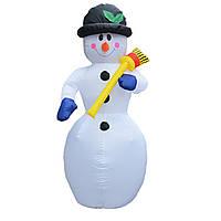 Новогодняя надувная фигура Снеговик 240 см, светящийся