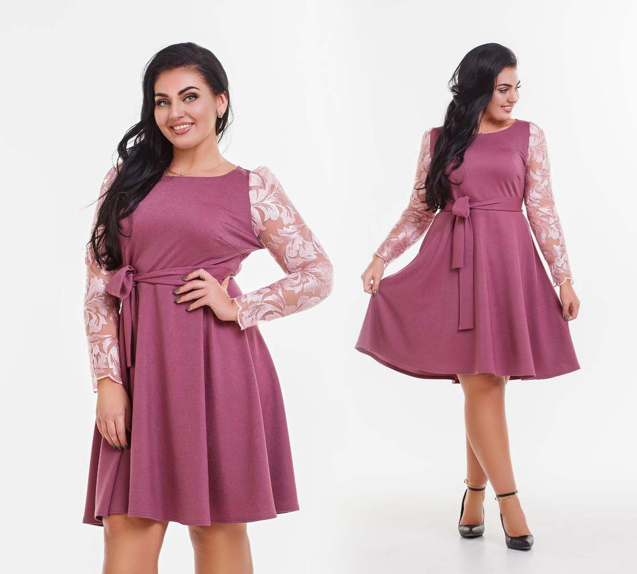 """Элегантное нарядное женское платье в больших размерах 41-151 """"Дубаи Клёш Рукава Вышивка"""" в расцветках"""