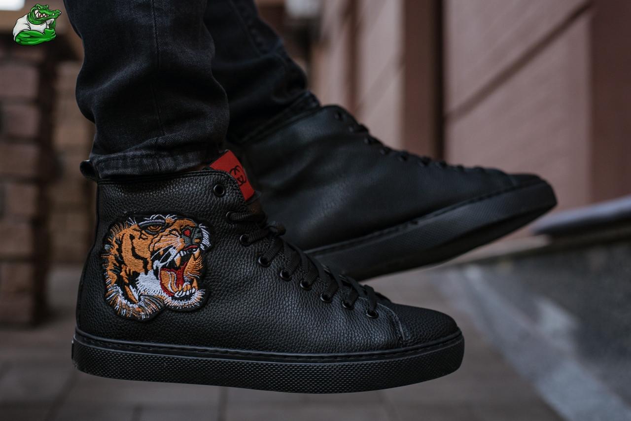 26de4262b8b8 Ботинки зимние мужские Gucci черного цвета со львом топ реплика -  Интернет-магазин обуви и