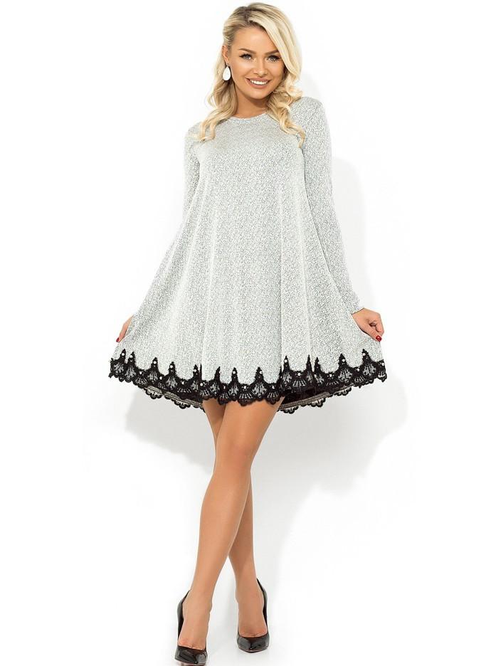 Ментоловое платье-мини покроя трапеция из трикотажа Д-498