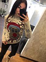 Жіночий в'язаний светр з малюнком олень в шапці,бежевий.Туреччина, фото 1