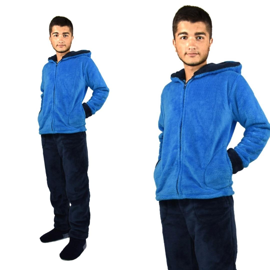 Купить Пижаму мужскую махровую синюю оптом и в розницу от интернет ... 6116923fc8b83