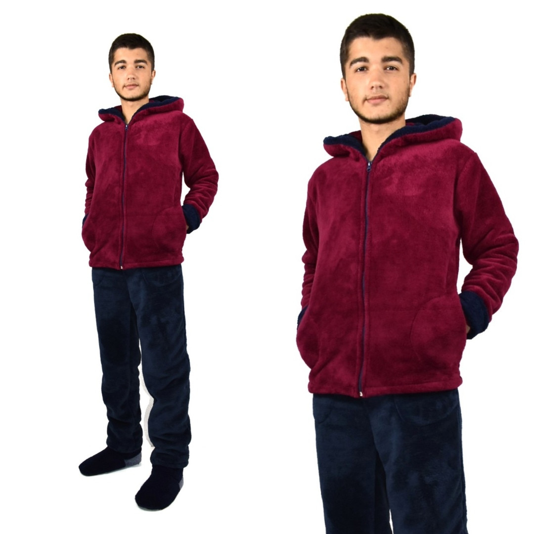 Пижама мужская махровая бордо
