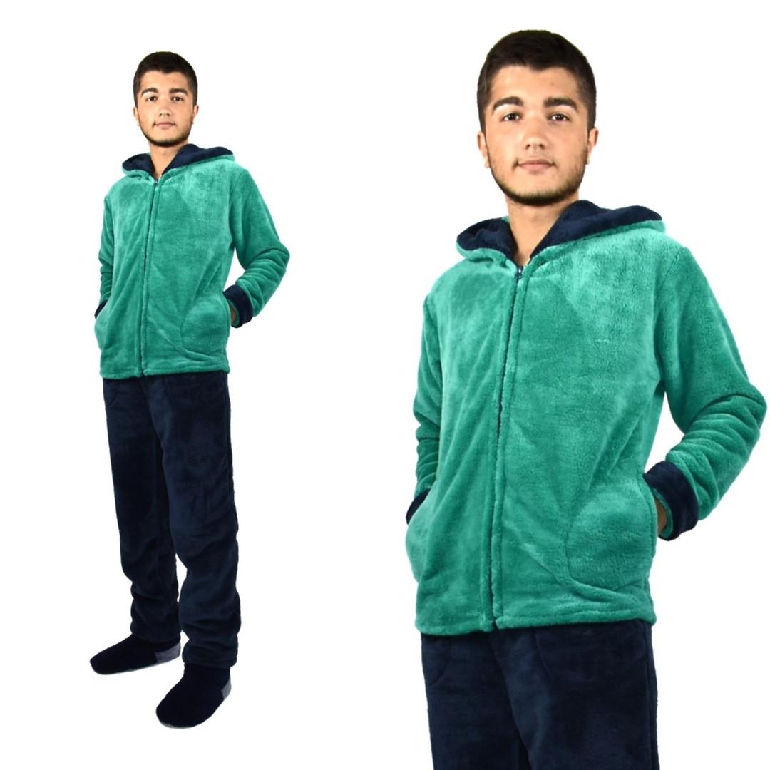 Пижама мужская махровая изумруд(зеленая)