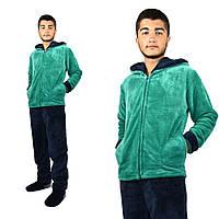 Пижама мужская махровая изумруд(зеленая), фото 1