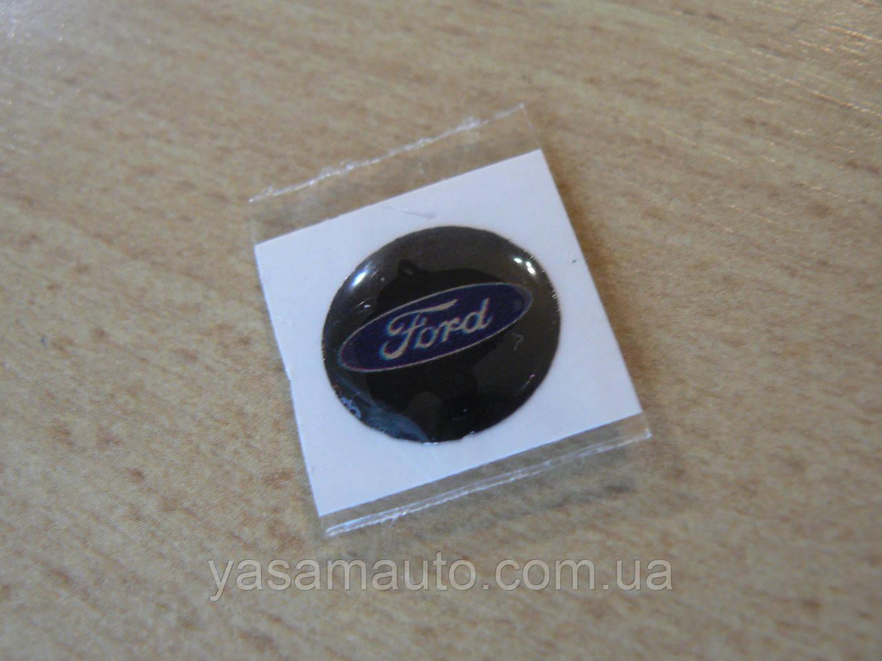 Наклейка s круглая Ford 12х12х1.0мм силиконовая эмблема в круге на авто Форд на черном фоне ключи сигнализацию