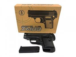 Пистолет металлический ZM03 стреляет круглыми пластиковыми пулями 6 mm.