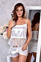 Атласная пижама шерты и топ с кружевом Белая. Размеры от XS до XL., фото 1