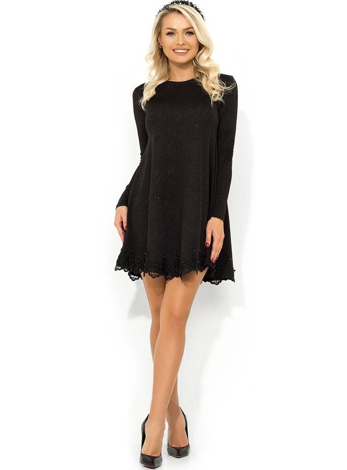 Черное платье-мини покроя трапеция из трикотажа Д-477