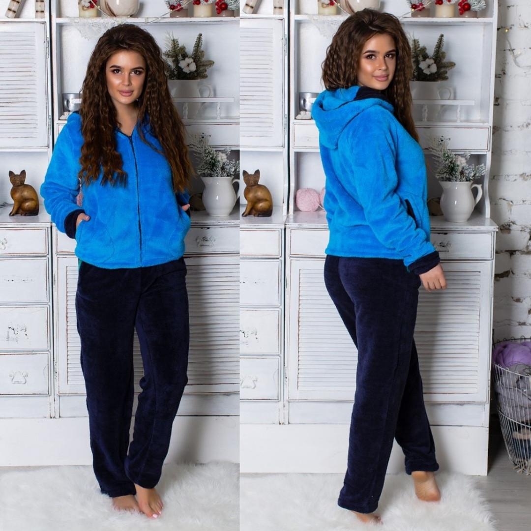Пижама женская махровая синяя