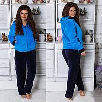 Пижама женская махровая синяя, фото 1