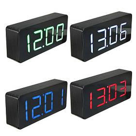 Акриловое зеркало деревянный цифровой LED время будильник календарь термометр 1TopShop