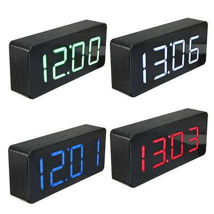 Акриловое зеркало деревянный цифровой LED время будильник календарь термометр, фото 2