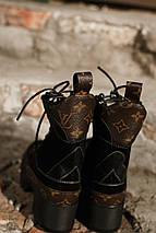 Женские высокие кожаные осенние ботинки Louis Vuitton CheckPoint коричневые, фото 3
