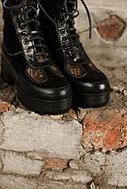 Женские высокие кожаные осенние ботинки Louis Vuitton CheckPoint коричневые, фото 2