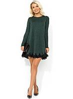 Зеленое платье-мини покроя трапеция из трикотажа Д-953