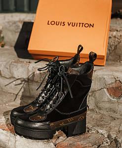 Женские высокие кожаные осенние ботинки Louis Vuitton CheckPoint коричневые