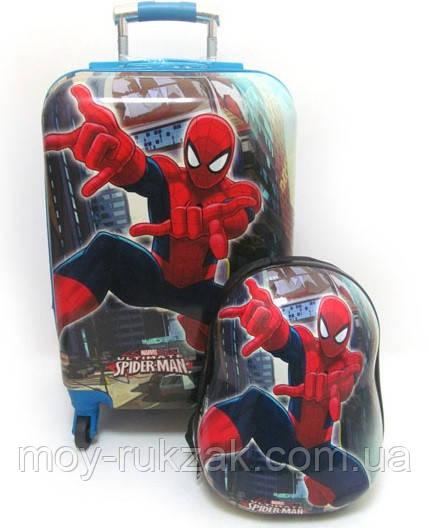 """Детский чемодан на колесах, большой + рюкзак «Josef Otten» Человек Паук 20"""""""