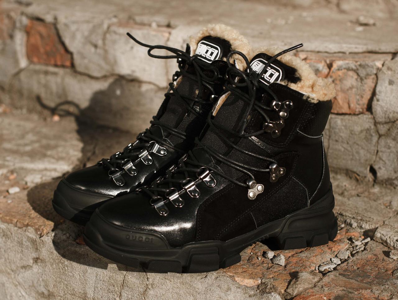 Женские зимние ботинки GUCCI черные. В Украине!