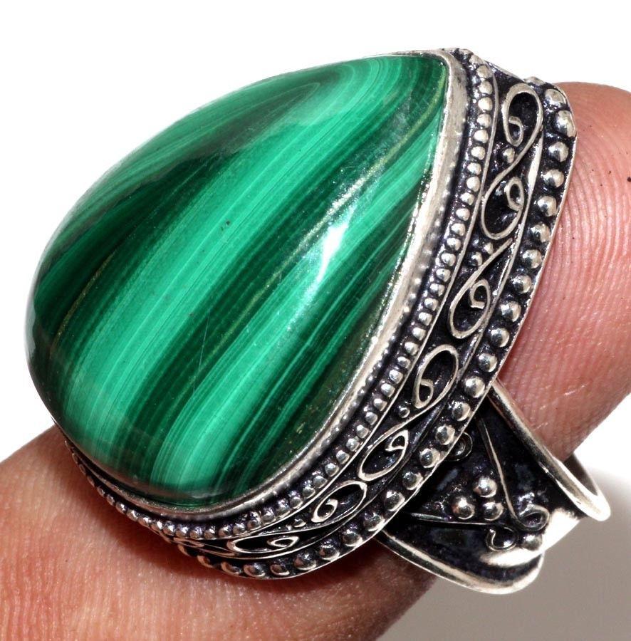 Малахит кольцо капля с натуральным малахитом в серебре 17,5 размер Сертификат Индия!